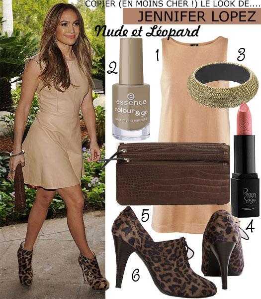 Copier (en moins cher !) le look «Nude et Léopard» de Jennifer Lopez…