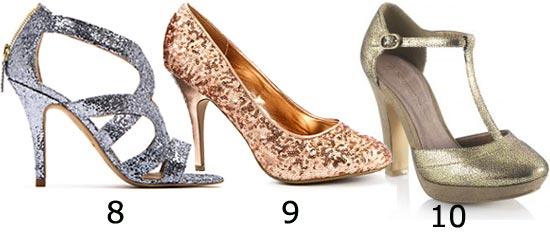 Chaussures de soirée : escarpins paillettes or argent