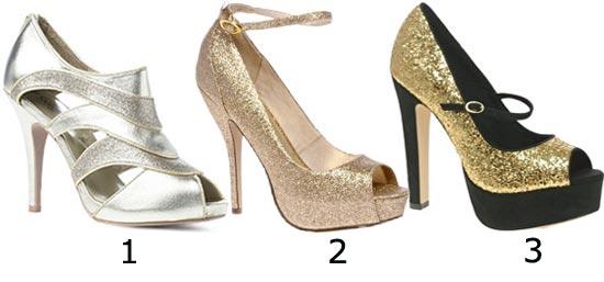 Chaussures de soirée : escarpins or ouverts