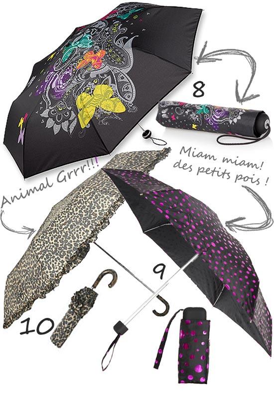 Parapluies imprimés léopard, à pois et colorés