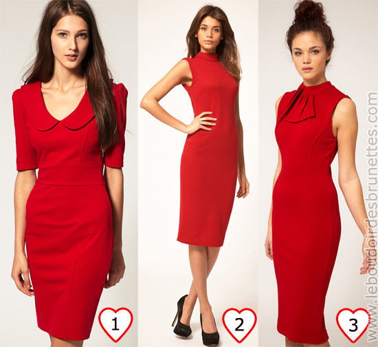 Robe rouge sous les genoux pour la Saint Valentin