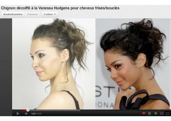 Vidéo coiffure pour cheveux frisés ou bouclés : chignon décoiffé à la Vanessa Hudgens
