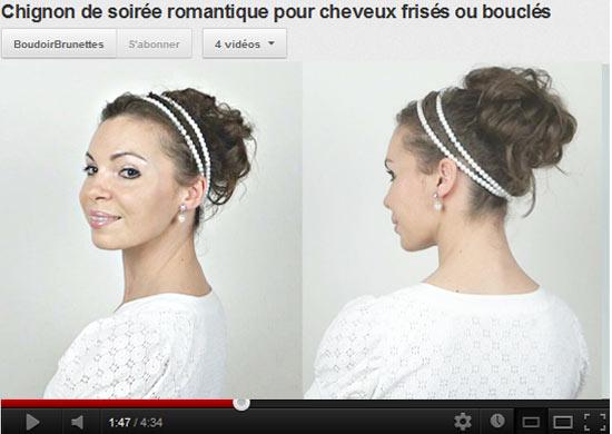 Tuto vidéo coiffure : chignon de soirée romantique pour cheveux frisés ou bouclés