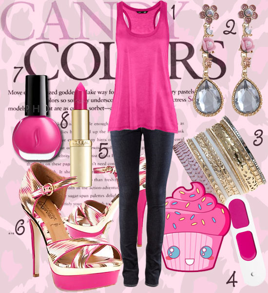 Tendance mode 2012 : chaussures roses, top rose, bijoux roses, vernis rose, rouge à lèvres rose