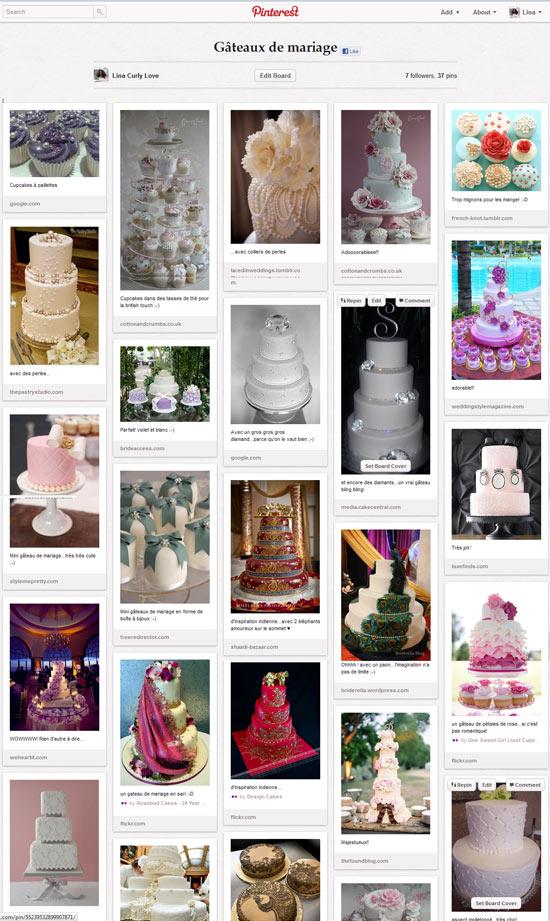 Gâteaux de mariage sur Pinterest