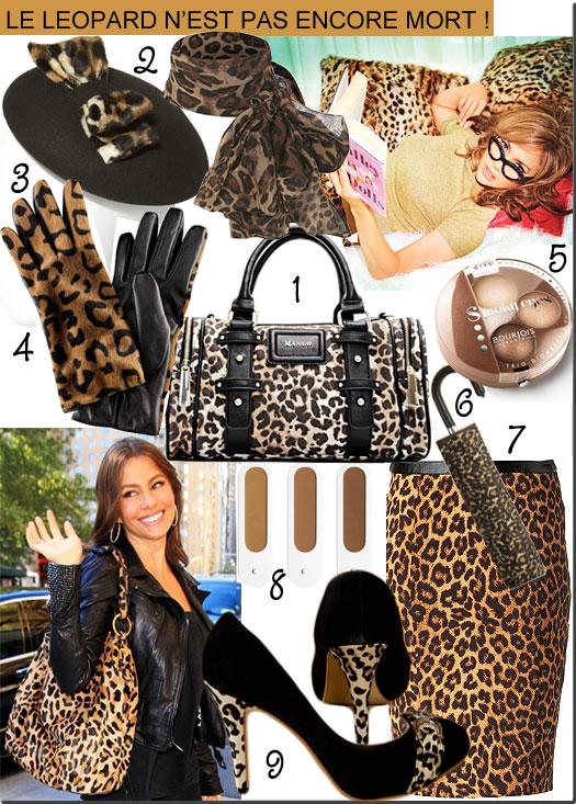 Tendance mode : sac léopard, chaussure léopard, foulard léopard, etc.