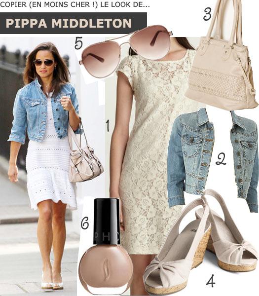 Look robe blanche de Pippa Middleton