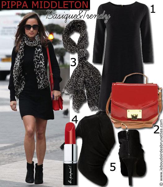 Look de Pippa Middleton : Robe noire et sac rouge