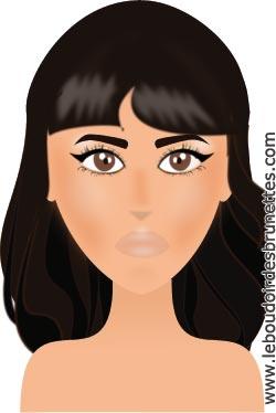 Maquillage de stars Jameela Jamil (en dessins) : rouge à lèvres rouge et eyeliner noir