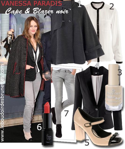 Look de Vanessa Paradis : blazer noir et cape