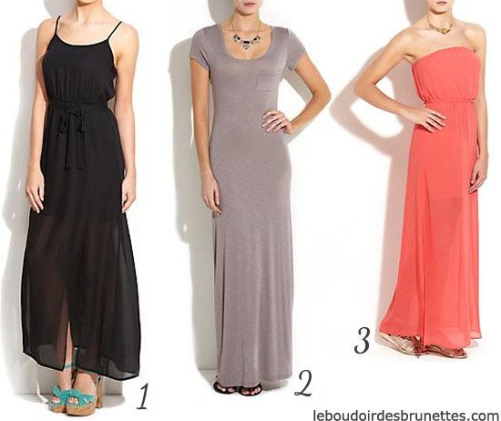 Maxi robes : robes longue noire, grise et orange