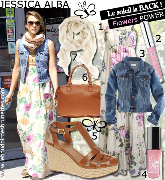 Look printanier de Jessica Alba : longue robe à fleurs et veste en jeans