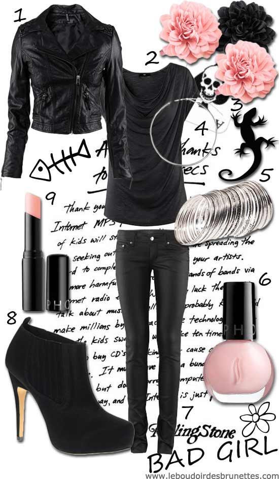 Look Rock à la Bad girl : jean slim noir, escarpins noirs à talons à clous, bijoux argent