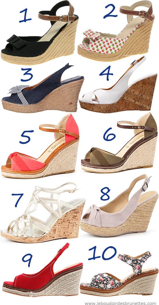 Sandales compensées : noires, unies, à fkeurs, à noeud, beige, etc.