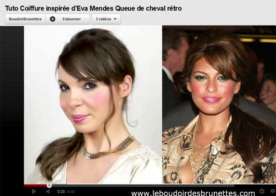 Tuto Vidéo Coiffure Eva Mendes : Queue de cheval rétro