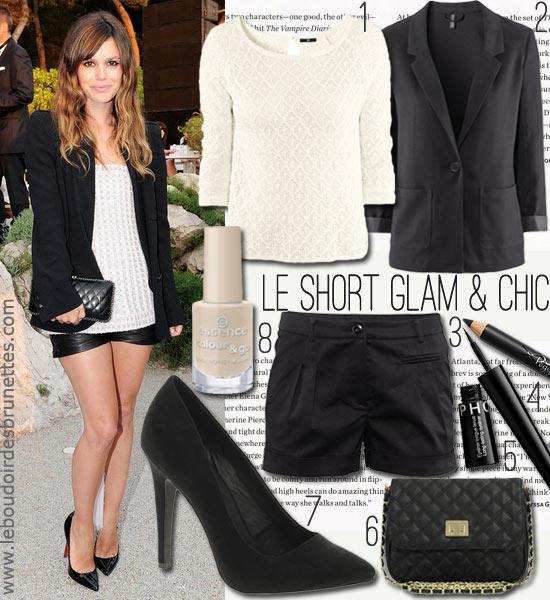 Look tendance de Rachel Bilson : short chic et blazer noirs
