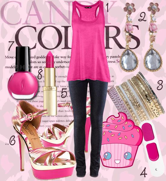 Tendance mode 2012 : chaussures roses, top rose, bijoux roses, vernis rose, rouge à lèvres rose
